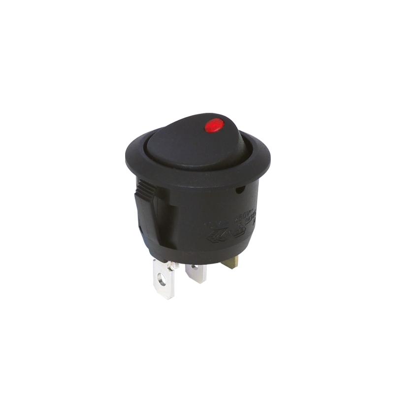 interrupteur bascule rond unipolaire rouge 24v. Black Bedroom Furniture Sets. Home Design Ideas