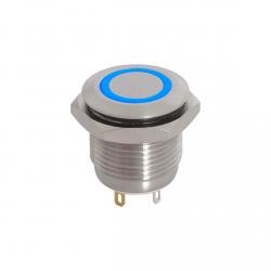 12V Blue Illuminated Vandal Proof Switch IP65 Momentary