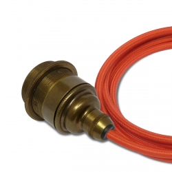 Brass E27 Threaded Pendant Light with Red Fabric Cable