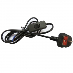 Black Power Cord with In Line Switch (2 Core)