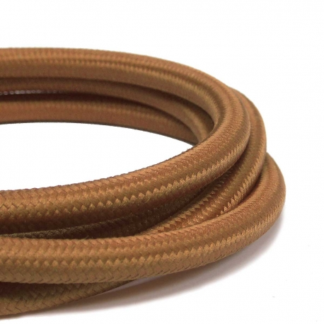 Brown Braided Fabric Lighting Cable | Fabric Lighting Flex Golden Brown Colour