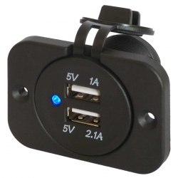 3.1A 12V Waterproof Dual Port USB Socket (12V / 24V Compatible) with Bracket
