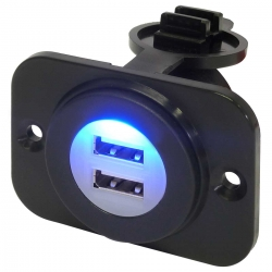 12V Waterproof Dual Port USB Socket (12V / 24V Compatible) with Bracket