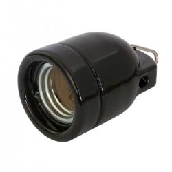 Black Gloss Ceramic (Porcelain) E27 Lamp Holder with Hook