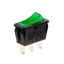 Green Illuminated Single Pole Rocker Switch 24V