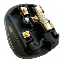 Tough Black Mains Plug, 13A, Resilent