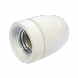 White High Gloss Ceramic E27 Lamp Holder