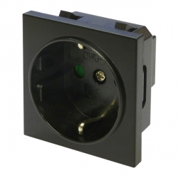 German Schuko Euro Module Socket Black