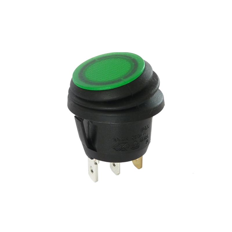 interrupteur bascule rond voyant vert 12v ip65. Black Bedroom Furniture Sets. Home Design Ideas