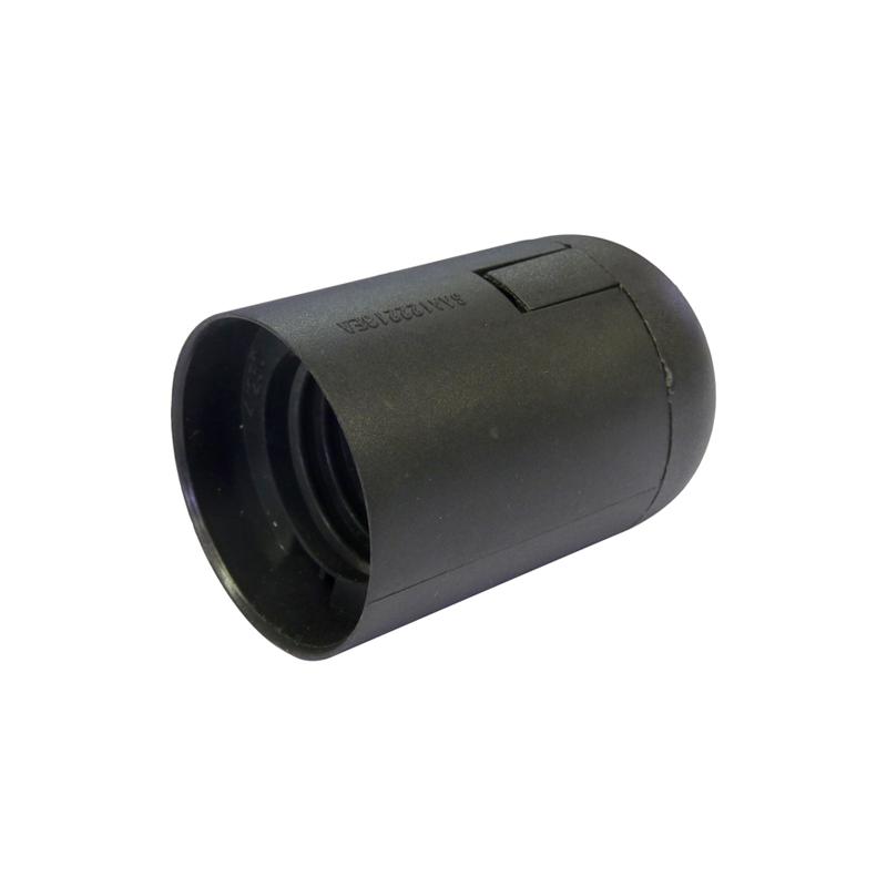 e27 es plain body black lamp holder  plastic edison screw