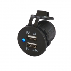 3.1A Waterproof Dual Port USB Socket (12V / 24V Compatible)