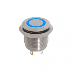 12V Blue Illuminated Vandal Proof Switch IP65 Momentary