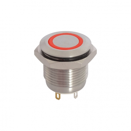 12V Red Illuminated Vandal Proof Switch IP65 Momentary