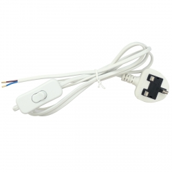 White Power Cord with In Line Switch (2 Core)