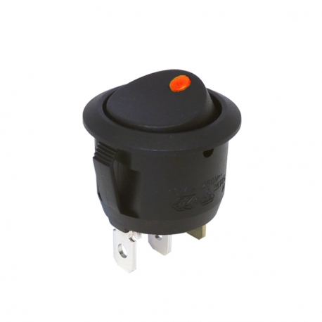 Amber 12V Round Rocker Switch