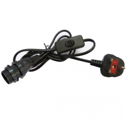 Black E14 SES Lamp Holder with Power Cord and In Line Switch