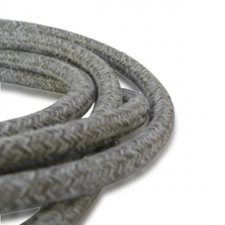 Light Grey Wool Fabric Cable | 2 Core Fabric Flex
