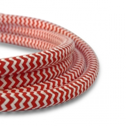 Red and White Fabric Cable | 2 Core Fabric Flex