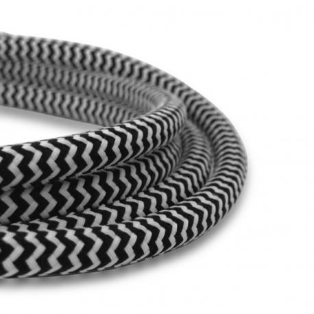 Black and White Fabric Cable   2 Core Fabric Flex