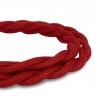 Red Vintage Twisted Fabric Lighting Cable | 2 Core Twisted Fabric Flex