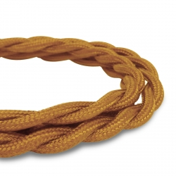 Golden Brown Vintage Twisted Fabric Lighting Cable | 2 Core Twisted Fabric Flex