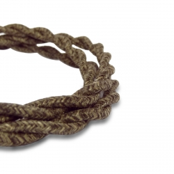 Brown Wool Vintage Twisted Fabric Lighting Cable   2 Core Twisted Fabric Flex