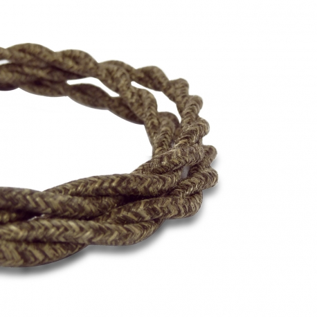 Brown Wool Vintage Twisted Fabric Lighting Cable | 2 Core Twisted Fabric Flex