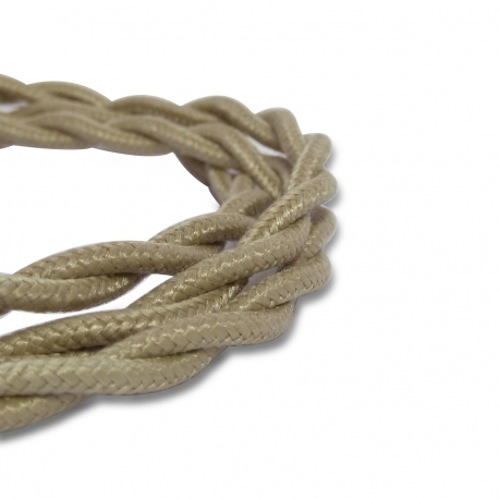 Grey Vintage Twisted Fabric Lighting Cable | 2 Core Twisted Fabric Flex