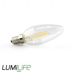 LUMiLife E14 Candle LED Filament Bulb - 4 Watt (40W) Warm White (Dimmable)