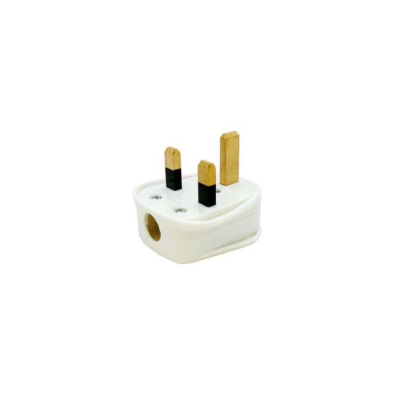 Tough White Mains Plug, 13A Fused, UK Mains Plug