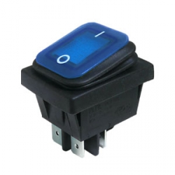Blue Illuminated Double Pole Rocker Switch, IP65
