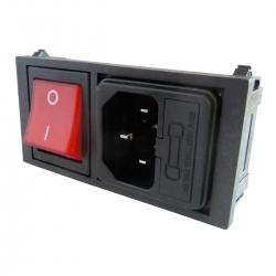 Embase Secteur IEC C14, Port Fusible, Interupteur