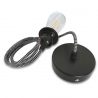 Black and White Fabric Cable Ceiling Rose Pendant Light Fitting