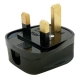 Tough Black Mains Plug, 3A, Resilent