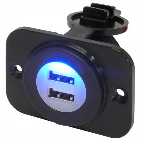 12V Waterproof Dual Port USB Socket (12V / 24V Compatible) with Bracket