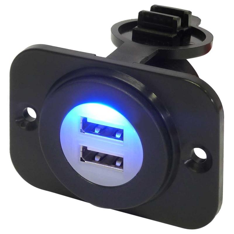 12 Volt Power Socket | Dual Port USB Power Outlet - Waterproof