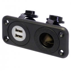 Dual 12V Waterproof USB Socket and Car Cigarette Lighter Power Outlet (12V / 24V Compatible)