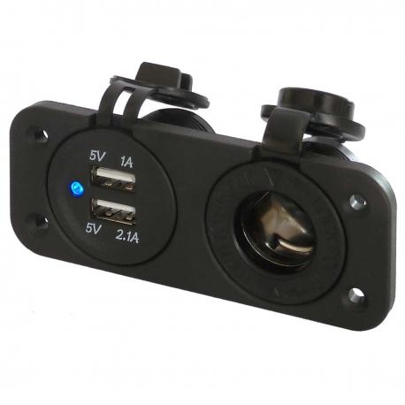 Dual 3.1A 12V Waterproof USB Socket and Car Cigarette Lighter Power Outlet (12V / 24V Compatible)