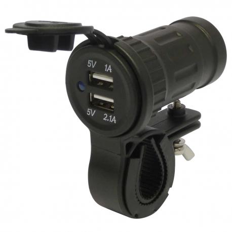 Motorcycle 12V Waterproof USB Charger and Handlebar Mount Kit