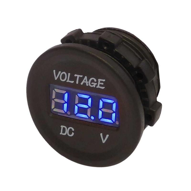 Blue Digital Panel Mount Voltmeter For 12 Volt And 24 Volt