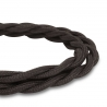 Deep Black Vintage Twisted Fabric Lighting Cable | 2 Core Twisted Fabric Flex