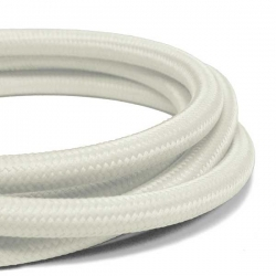 Satin White Fabric Cable | 3 Core Fabric Flex