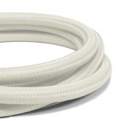 Satin White Fabric Cable   3 Core Fabric Flex