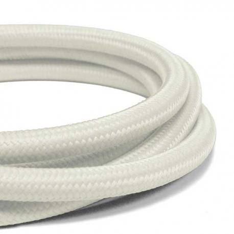 Satin White Fabric Cable | 3 Core Fabric Flex