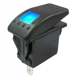 Blue Illuminated Single Pole Rocker Switch 12-24V, IP67