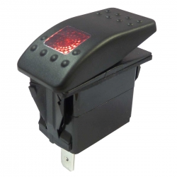 Red Illuminated Single Pole Rocker Switch 12-24V, IP67