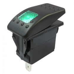 Green Illuminated Single Pole Rocker Switch 12-24V, IP67
