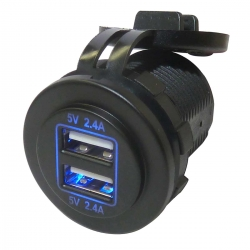 4.8A Fast Charge Waterproof Dual Port USB Socket (12V / 24V)