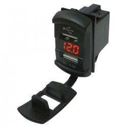 4.2A Fast Charge Waterproof Dual Port USB Socket (12V / 24V) and Voltmeter