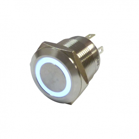 24V White Illuminated Vandal Proof Switch IP65 Momentary